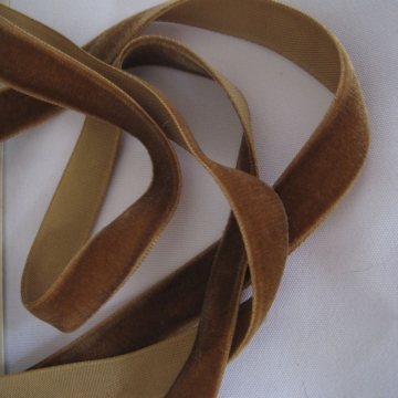 Vintage 30s French Velvet ribbon Dark taupe brown 5/8 inch wide