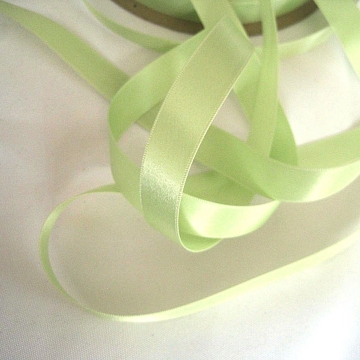 Vintage narrow satin ribbon spring green satin ribbon Double face satin narrow ribbon 50s fabric ribbon 5/8 inch wide