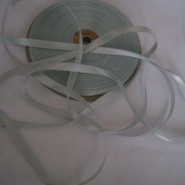 Vintage 50s Double Face satin ribbon Rayon blend Narrow 3/8 inch Pastel blue