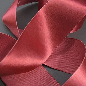 Vintage 30s Heavy satin ribbon Salmon rose 3 inch wide
