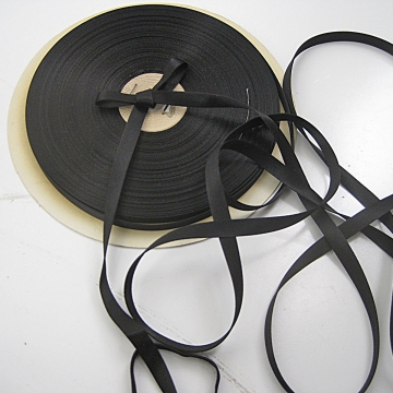30s Vintage narrow satin ribbon Doubled sided Tubular satin Black 3/8 inch