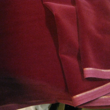 Vintage cotton Velvet fabric dark red  Germany